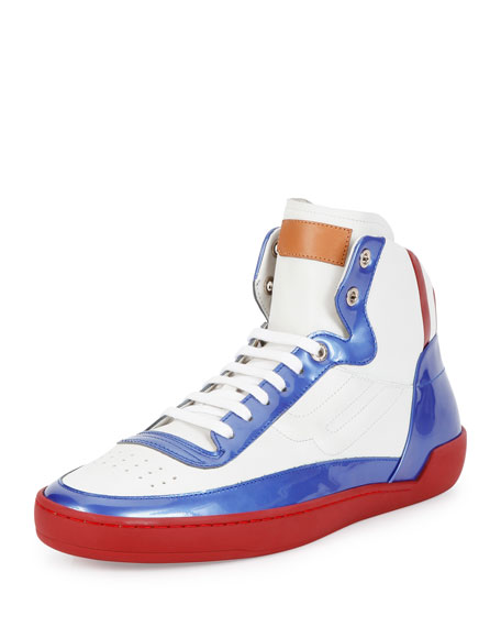 Bally Ethyx Men's Colorblock Patent Leather High-Top Sneaker, Multi