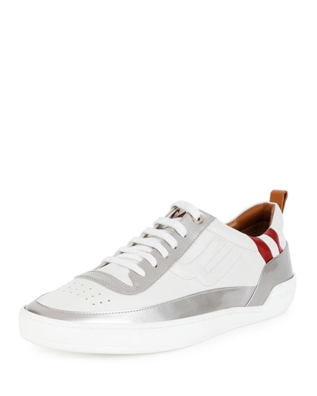 Bally Ethem Leather Lace-Up Sneaker, Silver/White