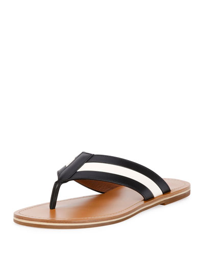 Amilton Striped Leather Thong Sandal, Black/Bone