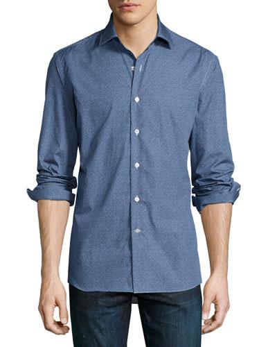 Mini Squiggle-Print Sport Shirt, Blue