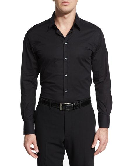 Dolce & Gabbana Basic Long-Sleeve Sport Shirt, Black