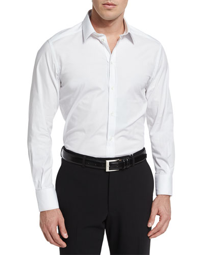 Dolce & Gabbana Basic Long-Sleeve Sport Shirt, White
