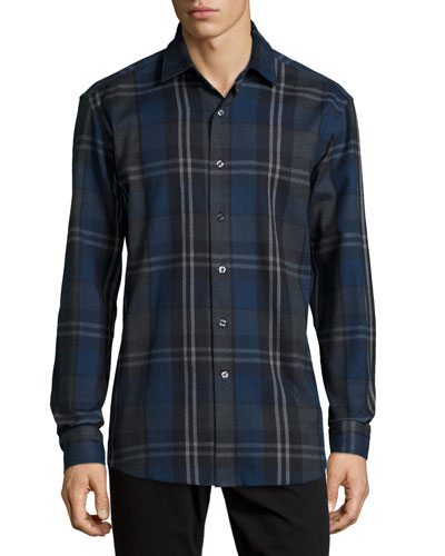 Plaid Long-Sleeve Flannel Shirt, Multi