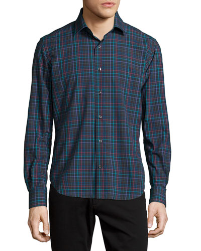 Plaid Long-Sleeve Shirt, Multi