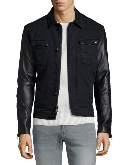 John Varvatos Star USA Button-Down Military Jacket with Leather Sleeves, ...
