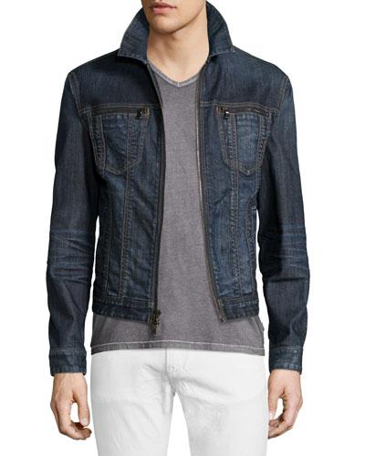John Varvatos Star USA Zip-Front Denim Jacket, Ink