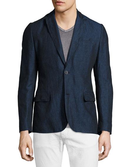 John Varvatos Star USA Peak Lapel Two-Button Jacket, Officer Blue