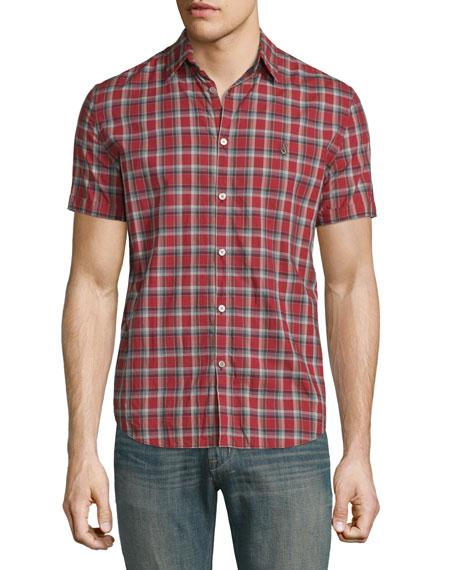 John Varvatos Star USASlim-Fit Check Short-Sleeve Sport Shirt,