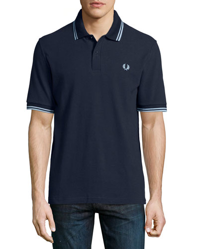 Twin-Tipped Short-Sleeve Polo Shirt, Navy