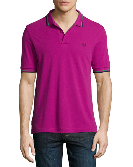 Fred Perry Twin-Tipped Short-Sleeve Polo Shirt, Purple