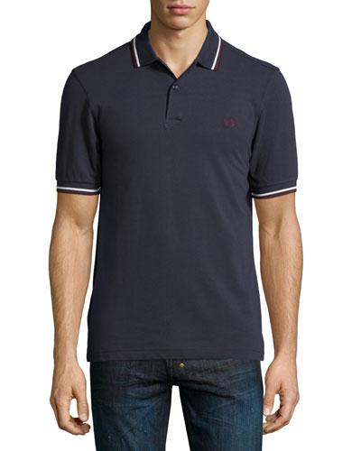 Twin-Tipped Short-Sleeve Polo Shirt, Dark Gray