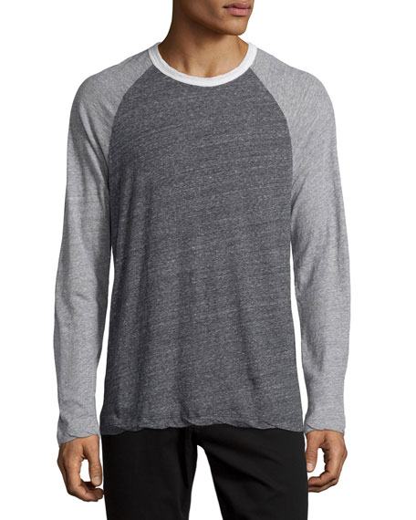 James Perse Revival Tricolor Raglan Sweater, Multi