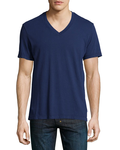 James Perse Combed Cotton V-Neck Tee, Washington (Navy)