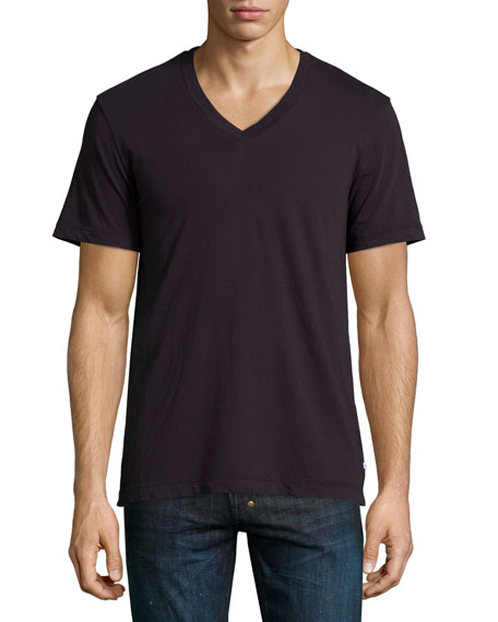 James Perse Combed Cotton V-Neck Tee, Fig (Plum)
