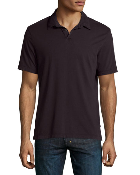 James Perse Short-Sleeve Jersey Polo Shirt, Plum