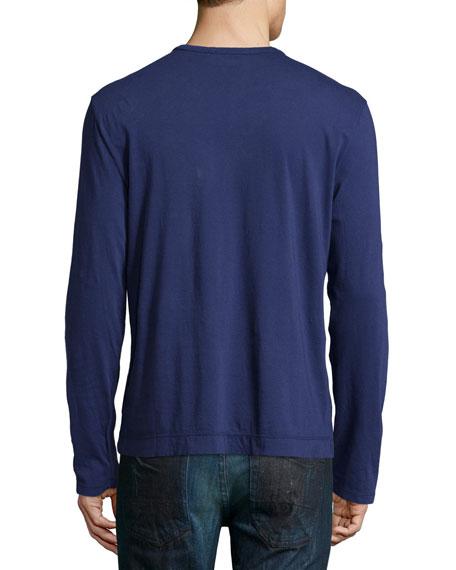 James Perse Washington Suvin Long Sleeve Henley Shirt Navy