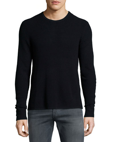 Garrett Textured Wool Sweater, Black