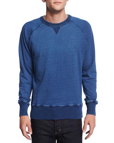 Crewneck Raglan-Sleeve Sweatshirt, Indigo