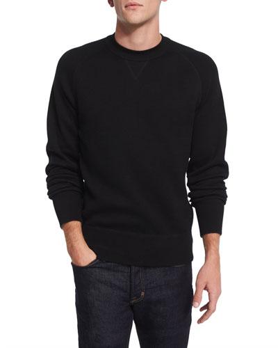 Crewneck Long-Sleeve Sweatshirt, Black