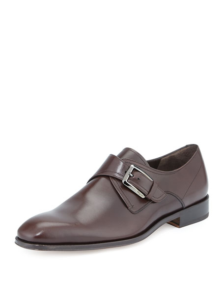 Salvatore Ferragamo Modugno Calfskin Single Monk-Strap, Brown