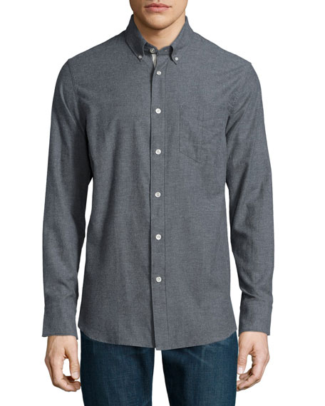 Rag & Bone Standard Issue Flannel Button-Down Shirt, Dark Gray ...
