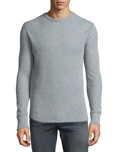Standard Issue Waffle-Knit Crewneck Sweater, Pale Gray