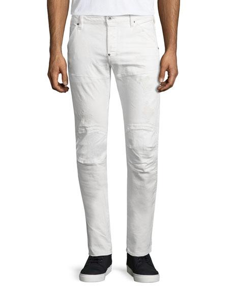 G-Star Distressed Stretch Moto Jeans, 3D Light Aged Restored
