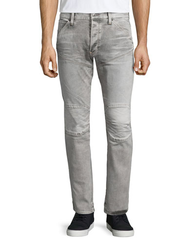 Slim-Fit Faded Moto Jeans, Light Gray