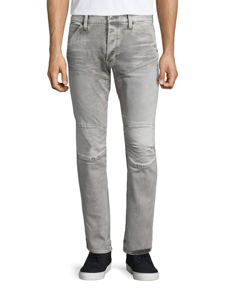 G-Star Slim-Fit Faded Moto Jeans, Light Gray