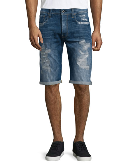 G-Star Distressed Straight-Leg Denim Shorts, Medium Blue