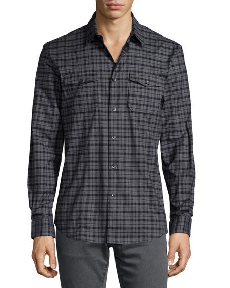 John Varvatos Star USA Check Long-Sleeve Sport Shirt, Gray