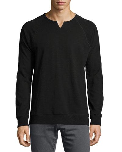 Raglan-Sleeve Knit Sweatshirt, Black
