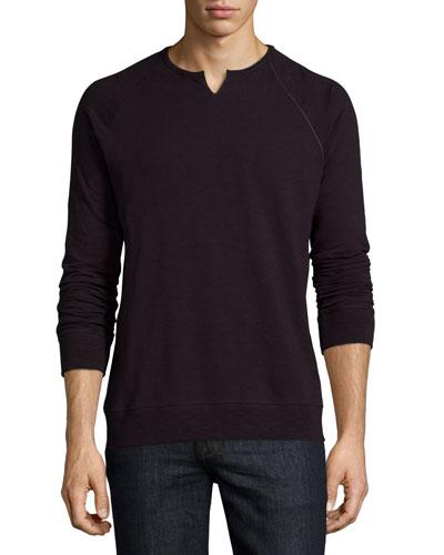 Raglan-Sleeve Knit Sweatshirt, Plum