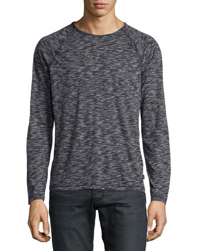 Space-Dyed Raglan Long-Sleeve Sweater, Black Pattern