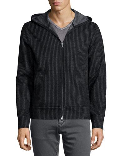 Pinstripe Double Pique Zip Jacket, Black