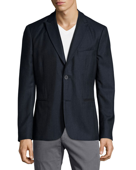 John Varvatos Star USA Flannel Two-Button Soft Jacket,