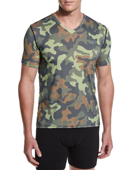 Frigo Camo-Print Mesh V-Neck T-Shirt, Camo