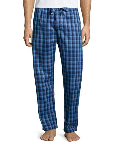 Check Flannel Pajama Pants, Blue