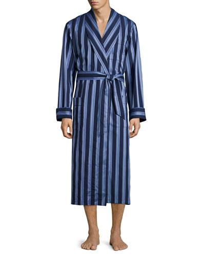 Striped Cotton Wrap Robe, Blue