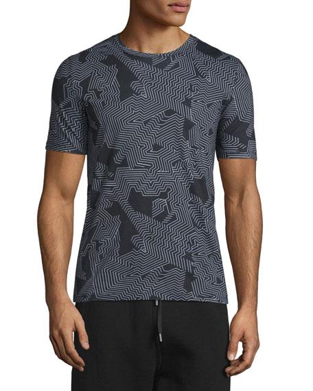 Helmut Lang Labyrinth-Print Short-Sleeve T-Shirt, Black/white Multi