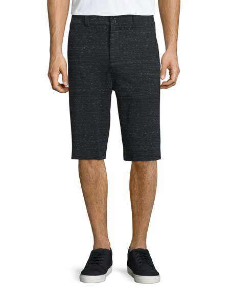 Helmut Lang Tailored Tweed Shorts, Black Heather