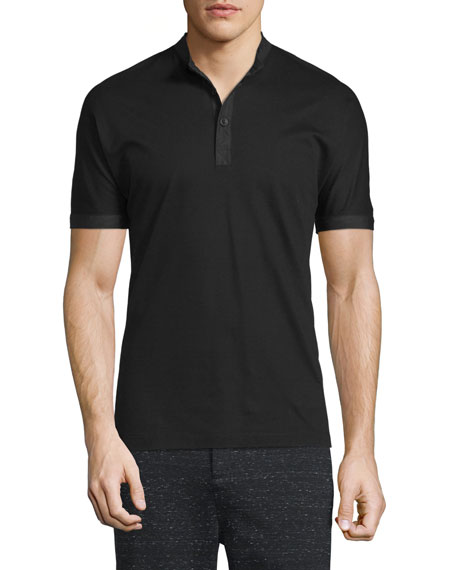 Helmut Lang Short-Sleeve Pique Henley Shirt, Black
