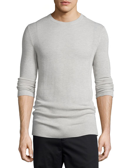 Helmut LangCashmere Front-Panel Crewneck Sweater, Sand Heather