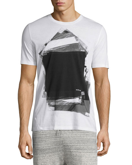 Helmut Lang Graphic-Print Short-Sleeve T-Shirt, Black/White