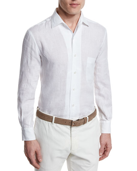 Loro Piana Andrew Long-Sleeve Linen Shirt, Optical White