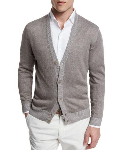 Silk-Blend Button-Down Cardigan, Marron Glace/Bleach