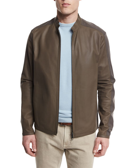 Loro Piana Two-Tone Leather/Windmate Zip Jacket, Laurel