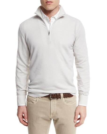 Loro Piana Roadster Half-Zip Cashmere Sweater, White Ice