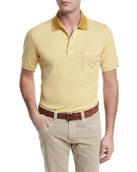 Loro Piana Regatta Contrast-Collar Polo Shirt, Sunset Gold