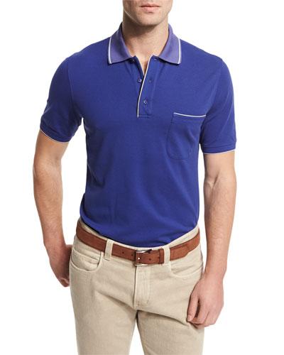 Regatta Short-Sleeve Pique Polo Shirt, Blue Navy